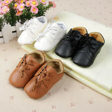 Fashion Chic Baby Boys Girls PU Leather Crib Shoes Infant Lace-Up Shoes 0-12M