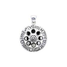 Zodiac Symbol Phases of the Moon Wheel .925 Sterling Silver Pendant Peter Stone