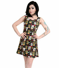 Ladies 60s Retro Vintage Japanese Lucky Cats Mini Shift Scooter Dress