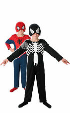 CHILD REVERSIBLE #SPIDERMAN COSTUME RED TO BLACK BOOK WEEK FANCY DRESS 2 SIZES