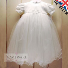 BABY GIRL CHRISTENING DRESS BAPTISM GOWN WHITE IVORY UK SIZE 0-6M 6-9M 6-12M NEW