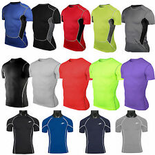 Mens Sports Compression Base Layers Tight Stretch Shirts Fitness Training Tops
