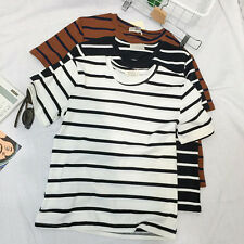 Women Casual Slimmer Stripe Short Sleeve Basic Shirt Tops Blouse T-shirt 3 Color