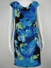 RALPH LAUREN Women's Floral Print Cowl Neck Blue Dress 8 Petite NEW WITH TAGS