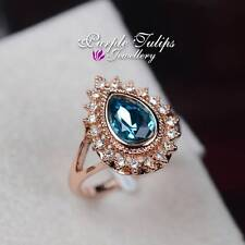 Stylish Pear Cut Made With SWAROVSKI Elements Crystal Ring 18K Rose Gold Plated