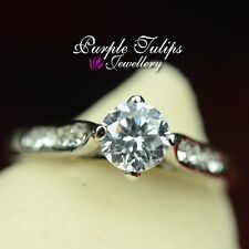 18K White Gold Plated Engagment, Bridal Ring Made With SWAROVSKI Crystal