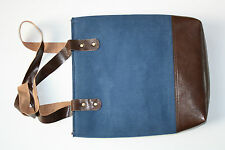 Shopping tote hand bag in canvas with leather trim