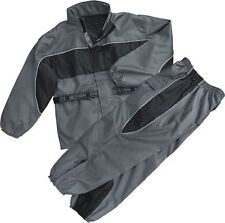 MEN'S MOTORCYCLE WATERPROOF RAIN GEAR RAIN SUIT LIGHTWEIGHT GREY COLOR WITH HUDY
