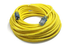 100 ft Extension Cord 3 Plug Lighted 12/3 Gauge Indoor Outdoor Heavy Duty Yellow