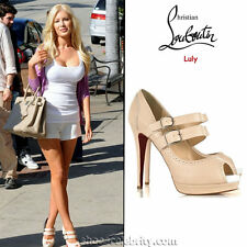 New Christian Louboutin LULY 140 Double Platform Beige NUDE Leather Shoes 40