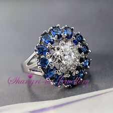 18K White GOLD GF WOMENS Large Blue SAPPHIRE SILVER RING SWAROVSKI CRYSTAL R2098