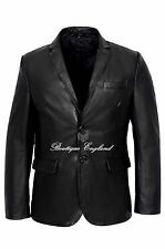 Men's Stylish Milano 2 button Classic Blazer Black Buffalo 100 % Leather Coat