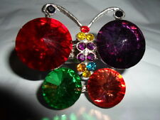 LARGE BUTTERFLY RING RED ORANGE PURPLE GLASS AUSTRIAN CRYSTALS SILVERTONE 7 8 9