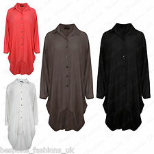 Ladies Womens Button Hi Lo Long Sleeve Collared Chiffon Shirt Dress Top One Size