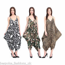 Ladies Womens Lagenlook Printed Baggy Cami Sleeveless Drape Jumpsuit Playsuit
