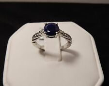 Size 7 Genuine Blue Sapphire & White Topaz Sterling Silver Ring 1.82cts