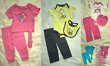 NWT Baby Girl 3 Piece Layette - Onesie/Top, Pants, Matching Headband or Bib SET