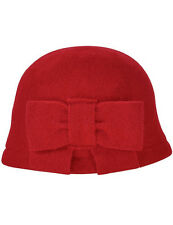 Women's Vintage Large Bow Wool Cloche Bucket Hat