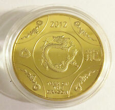 "1 OZ 2012 ""Year Of The Dragon"" Australia Coin Finished with 999 24 K Gold b"