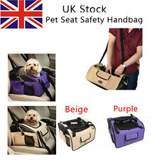 Pet dog puppy car seat travel bag carrier crate cage house beige purple SA