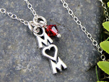 Mom word charm sterling silver necklace w/ birthstone crystal  - baby, mother