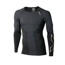2XU Mens Elite Compression Long Sleeve Top | Black/Gold + Free Aus Delivery***