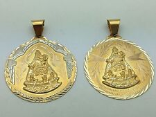 14k Gold Our Lady of Charity Large Medal Pendant Avail.in Yellow & Two Tone Gold