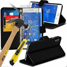 Leather Book Wallet Phone Case Cover+Glass Screen Protector for Sony