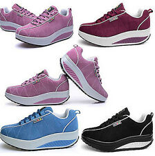 2016 Hot Womens Walking Shape Ups Running Suede Sports shoes Lace up Sneaker Sz