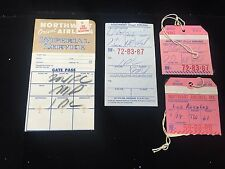 Vintage 1960 Northwest Orient Airlines Luggage Tag Boarding Pass Lot 4 Pieces
