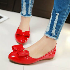 Womens Patent Leather Ballet Flats Big Bow Round Toe Cute Casual Shoes Slippers
