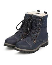 New Women Refresh Hudson-02 Leatherette Mix Media Round Toe Shearling Work Boot