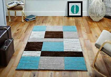 Quality Abstract Square Design Teal Blue / Brown / Cream Hand Carved Rug Carpet