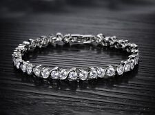 18K White Gold GP Austrian Crystal Lady CZ Zircon Hand Chain Gem Bracelet BT31a