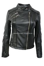 New Ladies 2623 Black Biker Style Motorcycle Soft Napa Italian Leather Jacket