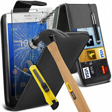 Top Flip PU Leather Phone Case Skin Cover+Glass Screen Protector for Sony