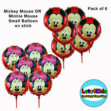 MICKEY OR MINNIE MOUSE SMALL PARTY BALLOON ON STICK LOOT BAG FILLERS PACK OF 6