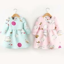 Baby Kids Girls Princess Lovely Swan Print Dress Long Sleeve Tutu Dress Skirt