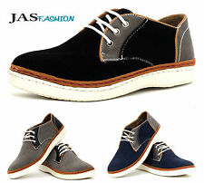 NEW Mens Lace Up Canvas Shoes Casual Fashion Suede Trainers Black Smart Size UK