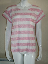 Lee Cooper Womens Pink Blue Striped Cap Sleeve Cotton Blend Top Size 18  New
