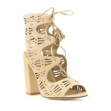 Truffle Womens Chop Out Lace Up Shoe in Nude - Sizes 3,4,5,6,7,8