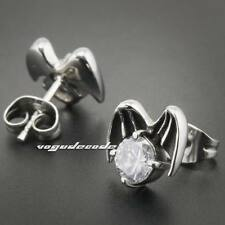 316L Stainless Steel White CZ Stone Wing Fly Mens Biker Stud Earring 3Q004D