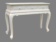 FRENCH CHATEAU  STYLE REPRODUCTION 3 DRAWER CONSOLE TABLE PAINTED ANTIQUE WHITE