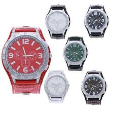 Fashion Leather Round Big Dial Casual Sports Quartz Wrist Watch Watches 6 Colors