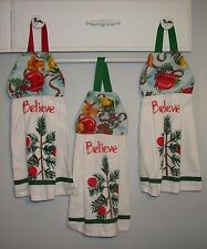Christmas Kittens Cats Ornaments Believe Ribbon Hanging Kitchen Dishtowel HCF&D