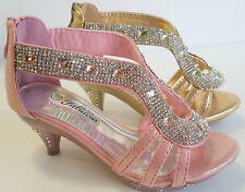 Girls Pageant Pink & Gold Rhinestone Sandals Heels Dress Shoes Youth Sizes9-4 US