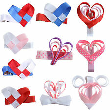 Lots Hair Bows Girls Baby Heart shaped Hair Alligator Clips Accessories Ribbon