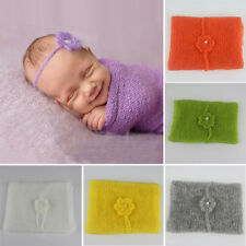 Newborn Knit Mohair Wrap with Crochet Headband Baby Photo Photography Prop UK