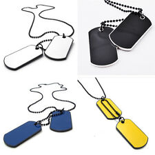Modern Army Tactical Style Black 2 Dog Tags Chain Mens Pendant Necklace