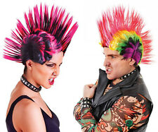 Mens and Womens Multi Colour Spiked Hair Mohican Punk Wigs Shaved Hair 80's